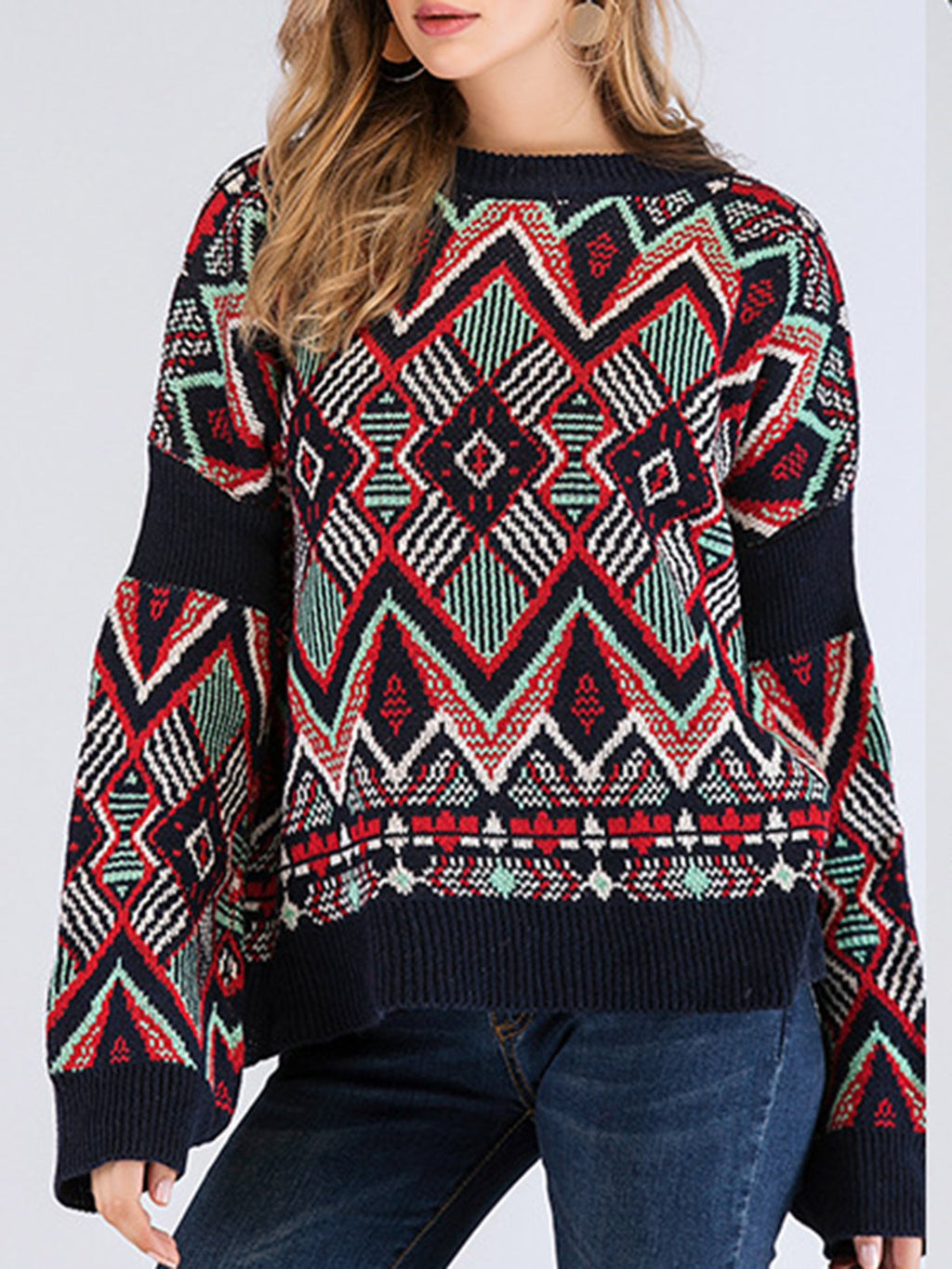Multicolor Paneled Casual Shift Geometric Sweater