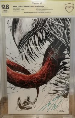 VENOM #1 B&W EXCLUSIVE CBCS 9.8 SS SIGNED CATES & KIRKHAM