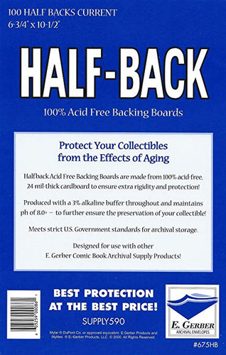 HALF-BACK CURRENT SIZE 100% ACID FREE BACKING BOARDS