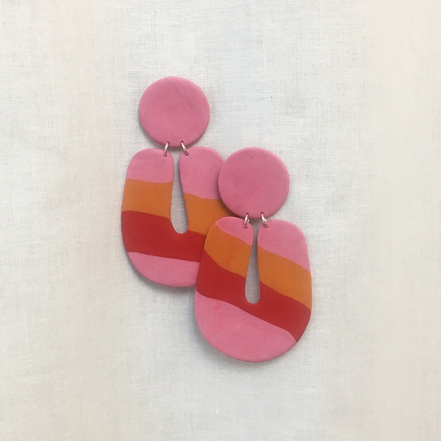 STRIPES CLAY EARRINGS