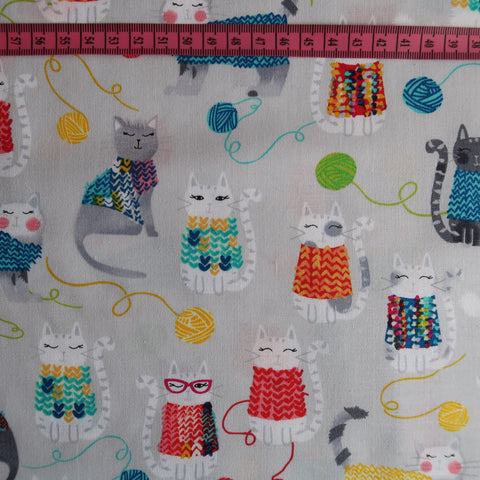 Knitty Kitty Print Fabric
