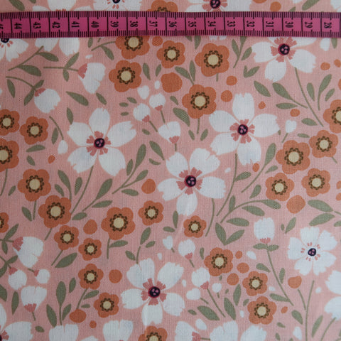 Coral Flower Print Fabric