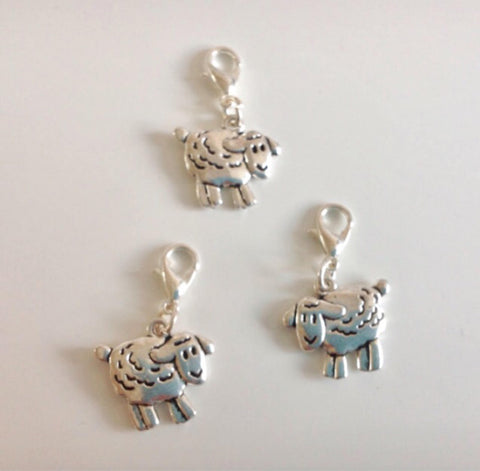 Sheep stitch markers or progress keepers (set of 3)