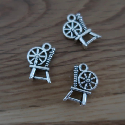 Spinning wheel stitch markers or progress keepers (set of 3)