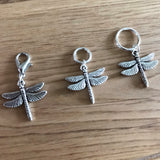 Dragonfly stitch marker or progress keepers (set if 3)