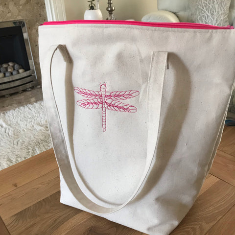 Tote Bag - Cream Canvas with free motion Dragonfly