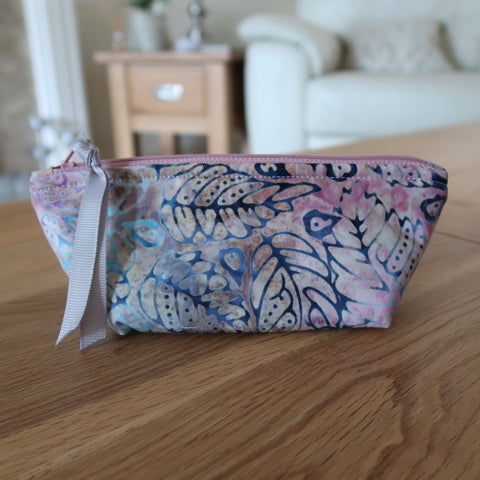 Pink / Blue Batik notions pouch