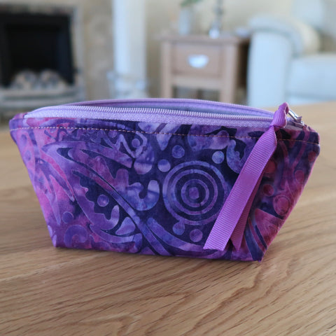 Purple Batik notions pouch