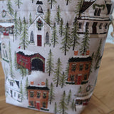 Snow Village Print Project Bag