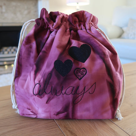 'Always' free motion quilted bag Medium (Shawl or small sweater size)