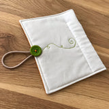 Pumpkin vine free motion stitched Circular Needle case