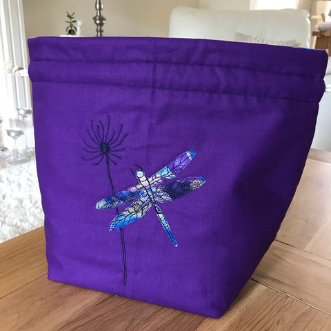 Purple Dragonfly applique / free motion quilted bag Medium (Shawl or small sweater size)