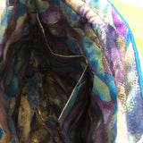 Blue Dragonfly applique / free motion quilted bag Medium (Shawl or small sweater size)