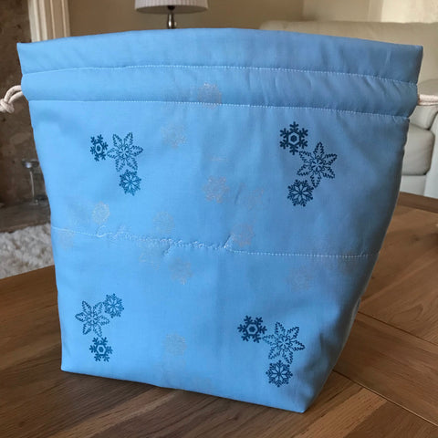'I Smell Snow' free motion quilted bag Medium (Shawl or small sweater size)