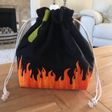 Cauldron applique / free motion quilted bag Medium (Shawl or small sweater size)