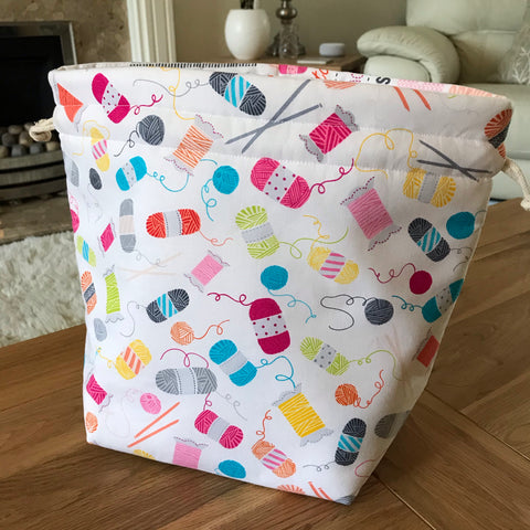Knitting print Project Bag