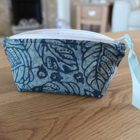 Turquoise / Navy  Batik notions pouch