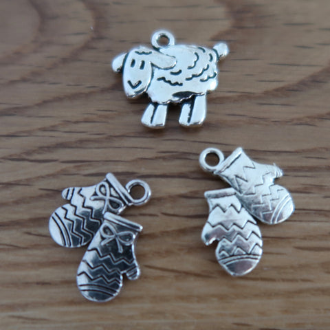 Wool themed stitch markers or progress keepers (set of 3), mittens / sheep