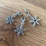 Snowflake stitch markers or progress keepers (set of 3)
