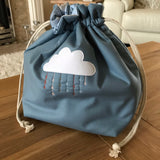 Cloud free motion quilted bag Medium (Shawl or small sweater size)