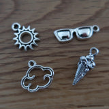 Summer themed stitch marker or progress keepers (set of 4) Sunglasses / sun / ice cream / cloud