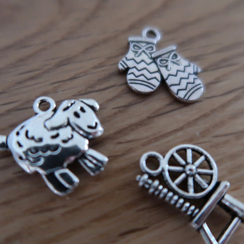 Wool themed progress keepers or stitch markers (set of 3) spinning wheel / mittens / sheep