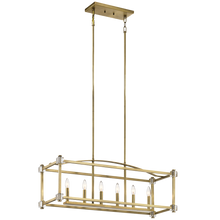 "Load image into Gallery viewer, Natural Brass Cayden 36"" Wide 6 Light Linear Chandelier with crystal accents"