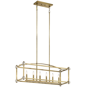 "Natural Brass Cayden 36"" Wide 6 Light Linear Chandelier with crystal accents"