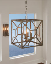 "Load image into Gallery viewer, 17"" Distressed Goldleaf Marquelle 4 Light Chandelier"