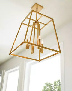 "Chrome Conant 4 Light 23"" Wide Candle Style Cage Chandelier (also available in Gilded Satin Brass)"