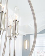 "Load image into Gallery viewer, 24"" wide Polished Nickel Corinne 6 Light Chandelier with crystal inlay"