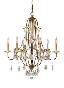 "28"" wide Oxidized Bronze Valentina 6 Light Crystal Chandelier"