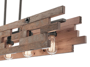 "Anvil Iron Cuyahoga Mill 5 Light 44"" Wide Linear Chandelier with reclaimed wood"
