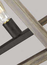 "Load image into Gallery viewer, Weathered Oak Wood / Antique Forged Iron Gannet 5 Light 50"" Wide Linear Chandelier"