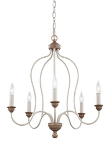 "24"" Chalk Washed / Beachwood Hartsville 5 Light Chandelier"
