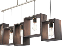 "Load image into Gallery viewer, Classic Pewter Industrial Frames 5 Light 44"" Wide Linear Chandelier with reclaimed wood"