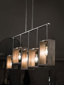 "Classic Pewter Industrial Frames 5 Light 44"" Wide Linear Chandelier with reclaimed wood"