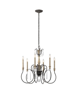 "Weathered Zinc Kimberwick 6 Light 26"" Wide Chandelier"