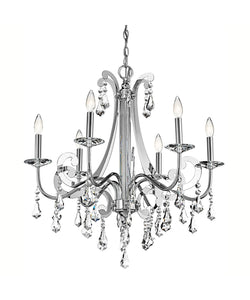 "28"" wide Chrome Leanora Crystal Chandelier with 6 Lights"