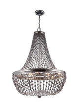 "Load image into Gallery viewer, 25"" wide Malia 9 Light Polished Nickel Chandelier Smoke Gray Crystal"