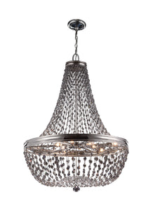 "25"" wide Malia 9 Light Polished Nickel Chandelier Smoke Gray Crystal"