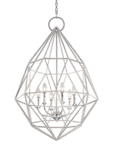 Load image into Gallery viewer, Silver Marquise 6 Light 1 Tier Chandelier with string crystal beading