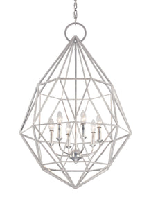 Silver Marquise 6 Light 1 Tier Chandelier with string crystal beading