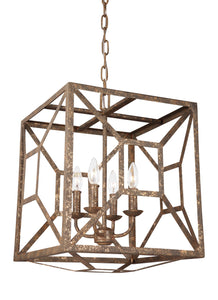"17"" Distressed Goldleaf Marquelle 4 Light Chandelier"