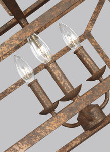 "Distressed Goldleaf Marquelle 6 Light 42"" Wide Chandelier"