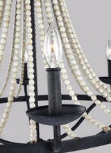 "Load image into Gallery viewer, Dark Weathered Zinc / Driftwood Grey Nori 6 Light 33"" Wide Chandelier"