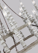"Load image into Gallery viewer, Distressed Fence Board / Distressed White Norridge 24 Light 30"" Wide Chandelier"