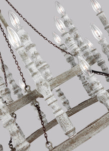 "Distressed Fence Board / Distressed White Norridge 24 Light 30"" Wide Chandelier"