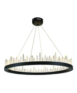 "31"" wide Malta satin dark grey with crystal chandelier"