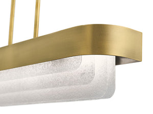 "Classic Pewter Serene 36"" Wide LED Linear Chandelier with layers of textured glass (Also available in Natural Brass)"
